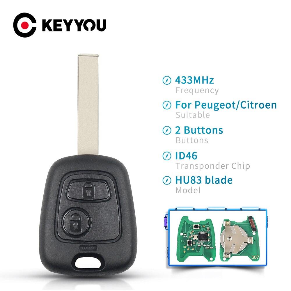 KEYYOU дистанционный Автомобильный ключ 433 МГц ID46 чип для Citroen C1 C2 C3 C4 Saxo Picasso Xsara для Peugeot 106 206 306 307 207 407 Partner