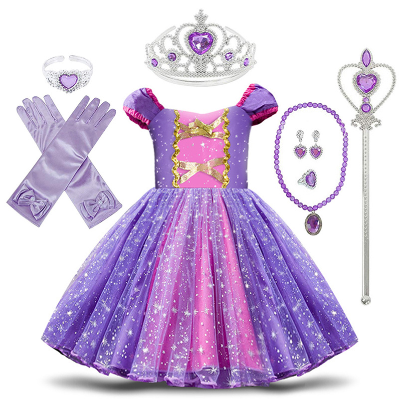 Toddler Baby Girls Rapunzel Sofia Princess Costume Halloween Cosplay Clothes Toddler Party Role-play Kids Fancy Dresses For Girl