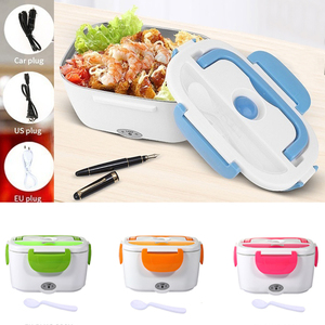 12V 110V 220V Electric Heated Lunch Box Portable 2 in 1 Car& Home Car/US/EU Plug Bento Boxes Stainless Steel Food Container