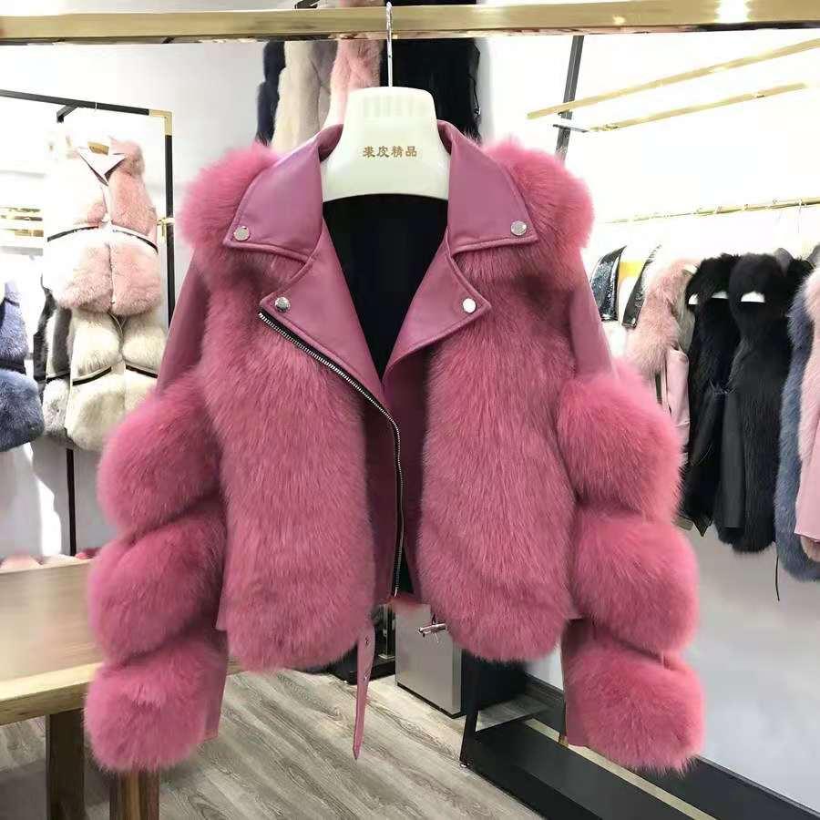 Ha37b96fe825647daa3e0656b6b6b8393r Women Faux Fur Coat with Fox Fur Winter Fashion 2021 New Motocycle Style Luxury Fox Fur Leather Jackets Woman Trendy Overcoats