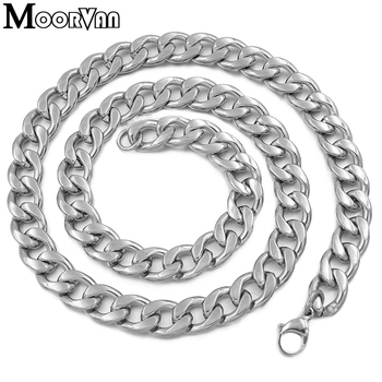Moorvan figaro NK necklace silver color best quality stainless steel 24inch 12mm cool sportman trendy necklaces for men VN424 image