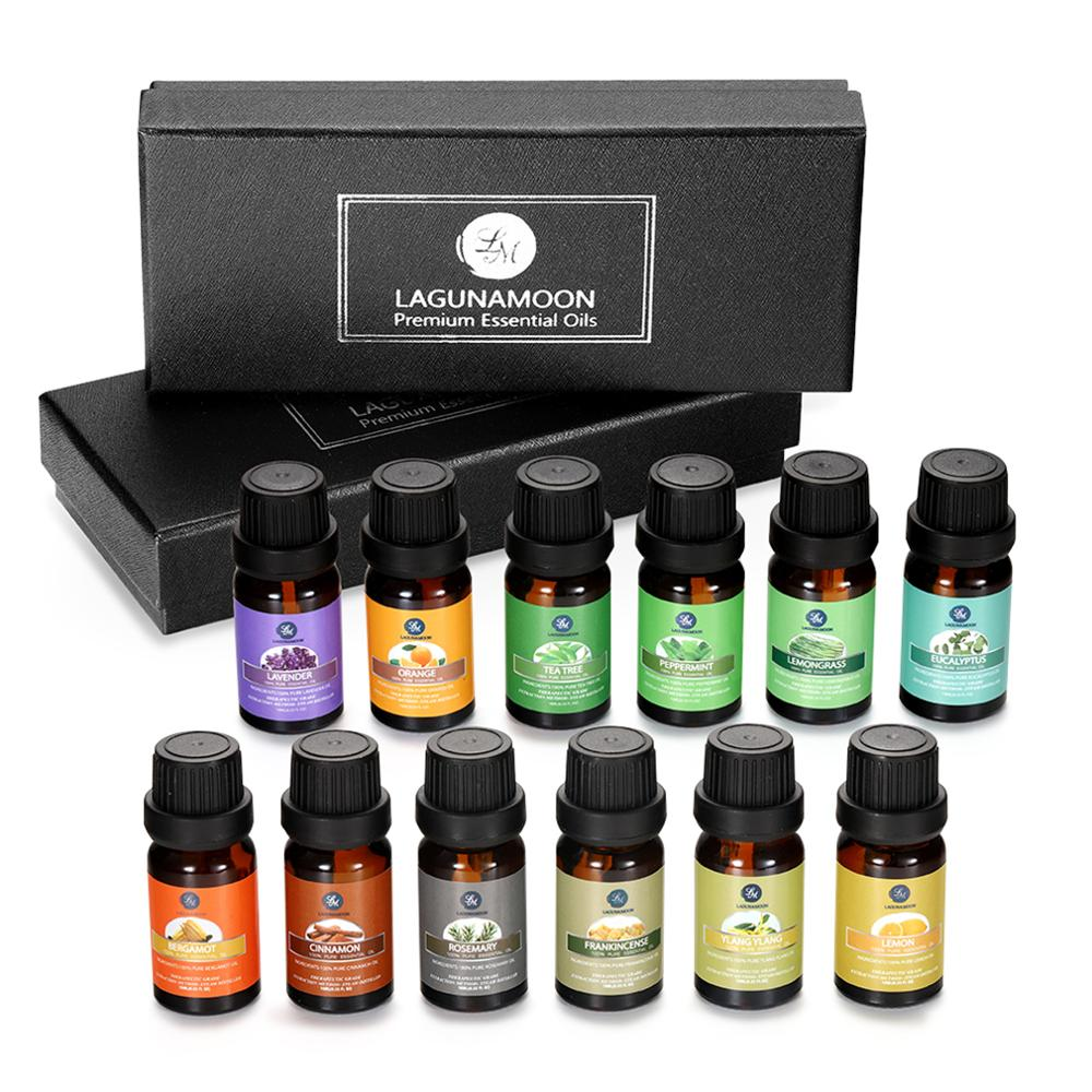Lagunamoon Pure Essential Oils 10ML 12pcs*Gift Set Diffuser Aromatherapy Lavender Rosemary Lemon Frankincense Ylang Orange Mint