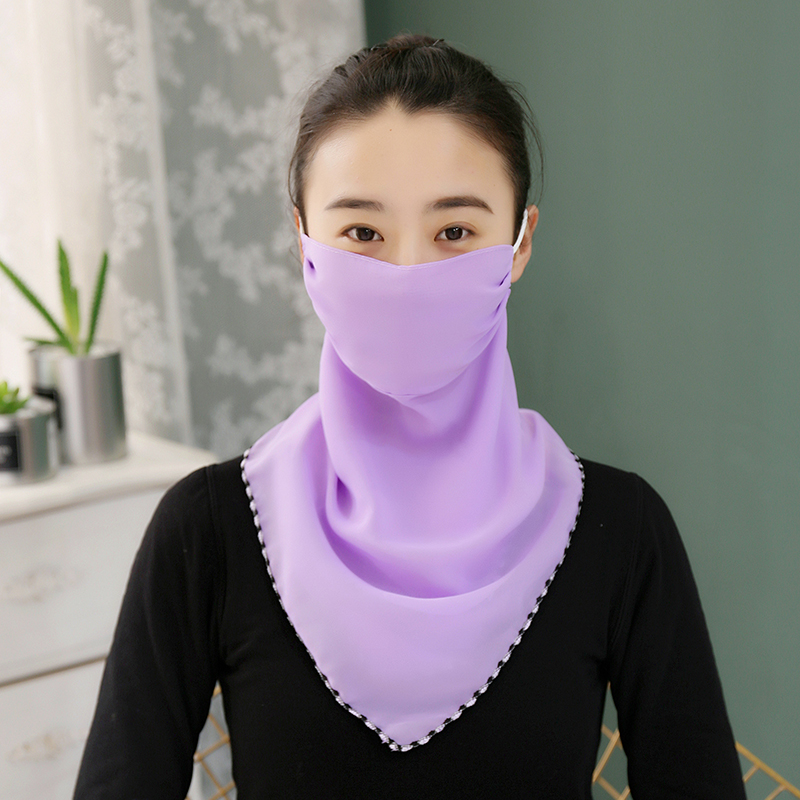 New Sunscreen Mask Neck Protection Full Covering Chiffon Triangle Scarf Thin Summer Breathable Silk Scarf Outdoor Riding
