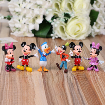 цена на 6PCS Disney Figures Mickey Mouse Minnie Mouse Clubhouse Birthday Party Cake Decoration PVC Action Figures Toys for Children DS10