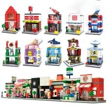 Город Мини-уличная игрушка розничный магазин 3D модели строительный блок кирпич KFEC кафе яблоко миниатюрный для ребенка подарок совместимый legoingly