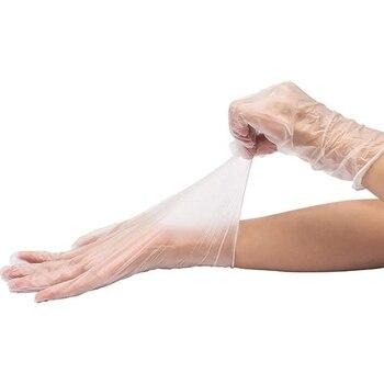 300Pcs Disposable Gloves Powder-Free Food Grade Protective Gloves Transparent Vinyl Gloves, Large, Transparent