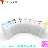 Vilaxh 3880 pro 3880 9pcs T5801 Empty Refillable Ink Cartridge For epson Stylus pro 3880 printer ink with chip