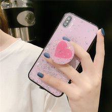 GYKZ Bling Glitter Grip Stand Case For iPhone 7 X XR XS MAX 8 6 6s Plus Love Heart Soft Phone Cover Candy Color Silicone Fundas