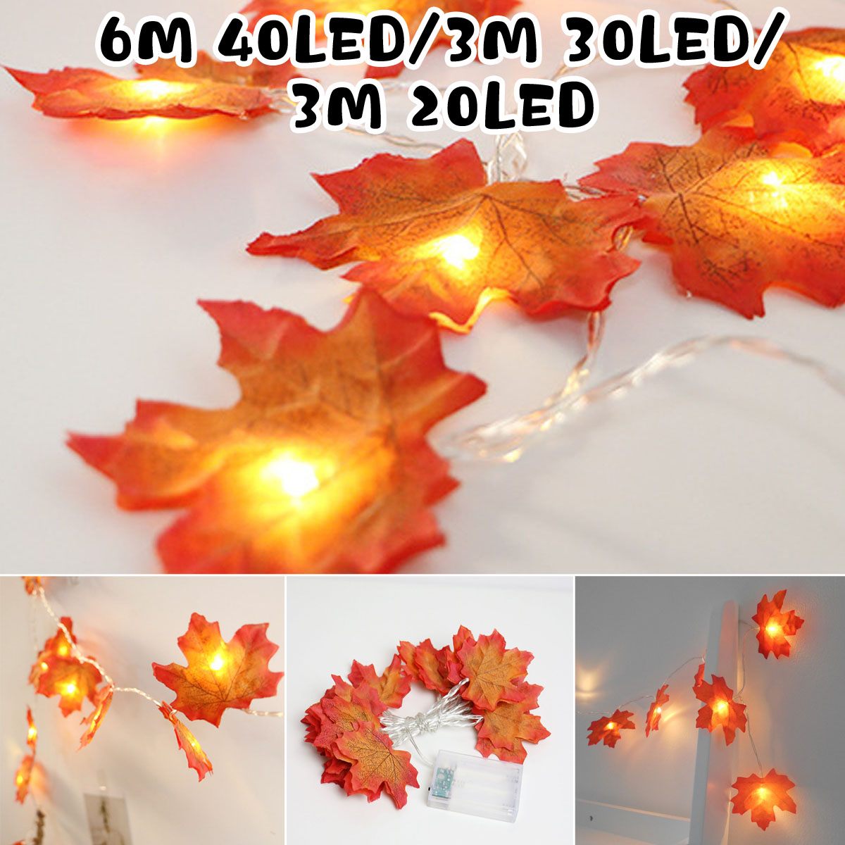 Double-sided Maple Leaf Chandelier 20/30/40 LED String Light Party Decoration Lights Ornament Festival Atmosphere Lamp