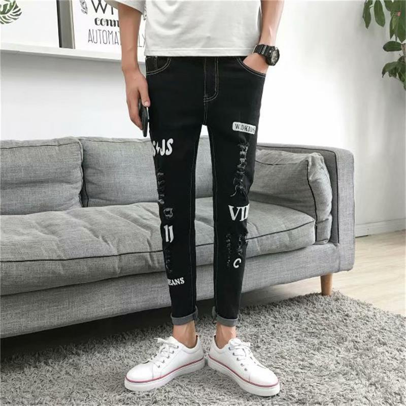 2018 Spring And Autumn New Style MEN'S Jeans Teenager Cool Capri Jeans Casual Men's Trend Ripped Pants