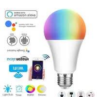 12W RGB WiFi Smart led Bombilla E26 E27 B22 lámpara de cabeza de trabajo con amaze alexa echo Google Home voice bombilla de control remoto inteligente