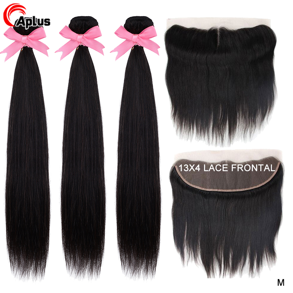 Aplus Peruvian Hair Bundles With Frontal Transparent Lace Straight Remy Human Hair 3 Bundles With Lace Closure Hair Extensions