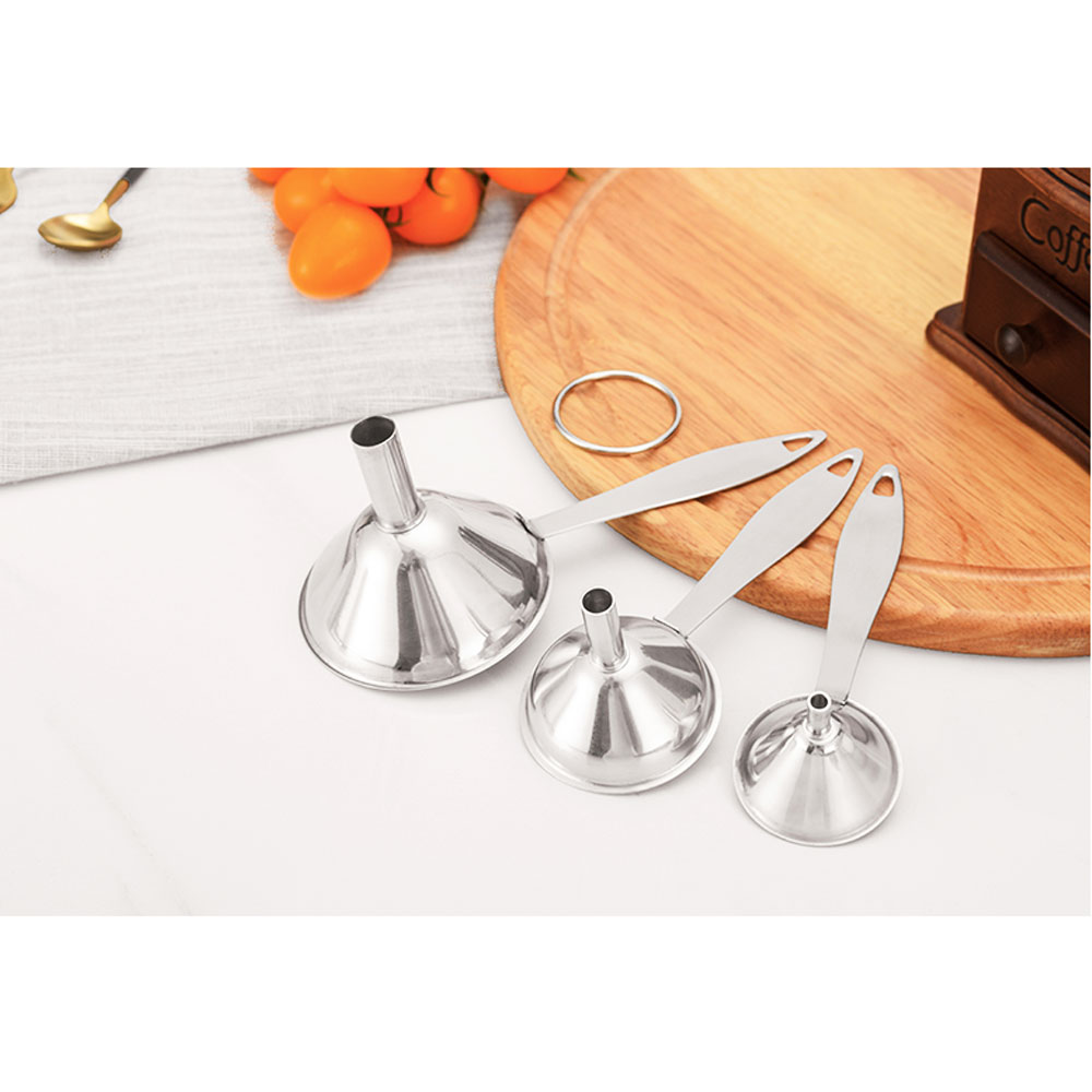 3-in-1 Premium Food Grade Durable Stainless Steel Funnels Set For Essential Oil