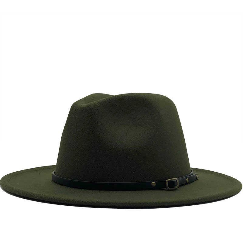 Baru Pria Topi Wol Merasa Topi Pesta Jazz Fedora Trilby Topi dengan Sabuk Gesper Kuning Oranye Kuning panama Topi