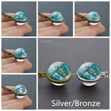 Silver/Bronze Double-sided Necklace Sea Turtles Photo Vintage Necklace Glass Cabochon Pendant Handmade Accessories for Women(China)