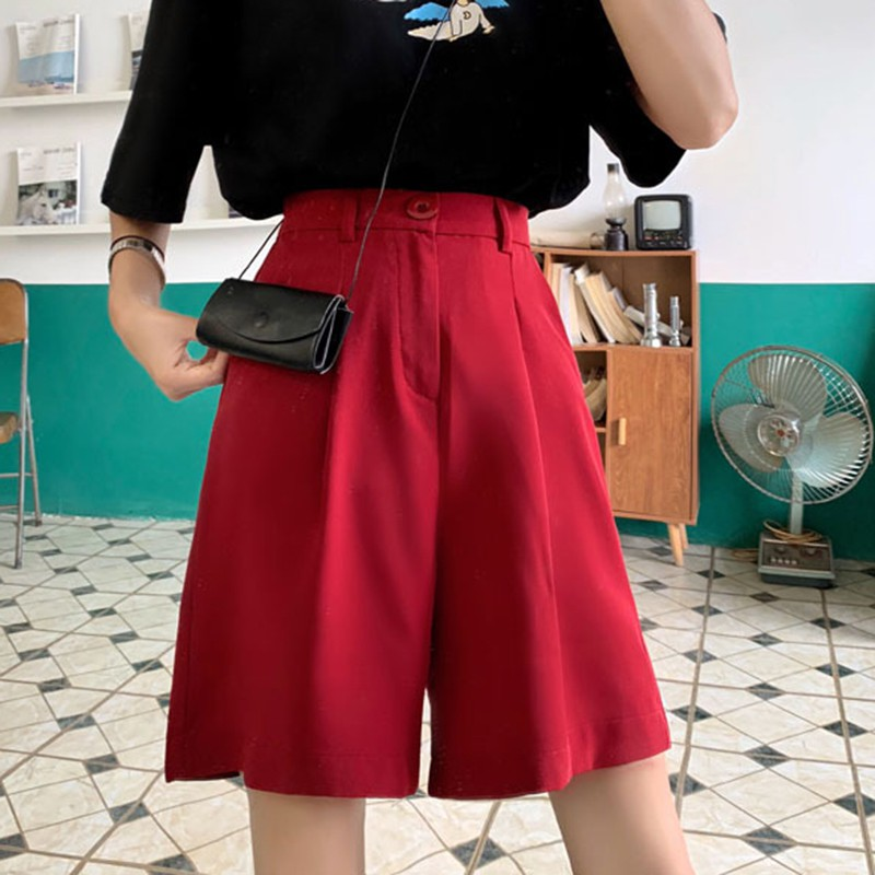 Summer High Waist Shorts Women's Casual Loose Solid Color Shorts Fashion Wild Wide Leg Shorts Black Red