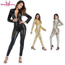Shiny Metallic Catsuit Latex Faux Leather Jumpsuit Body Suit Leotard Bodycon Clubwear Bar Pole Dance Costume Wet Look Bodysuit(China)