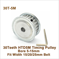 POWGE 30 Teeth 5M Synchronous Pulley Bore 5-25mm Fit W=15\/20\/25mm 30T 30Teeth HTD 5M Timing Belt Pulley 30-5M AF
