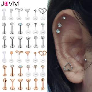 Jovivi Acrylic Labret Jewelry Lip-Rings Piercing Monroe Stainless-Steel 18pcs Ear Mixed-Lip