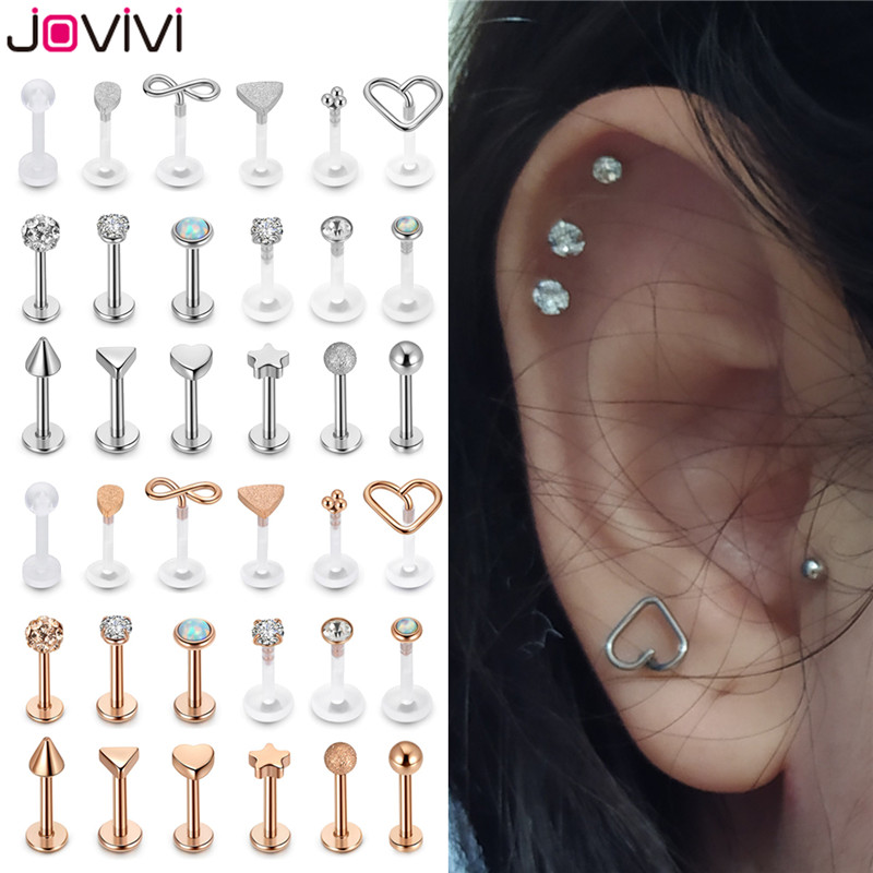 Jovivi 18pcs Stainless Steel+Acrylic Labret Monroe Lip Rings Ear Helix Ring Mixed Lip Piercing Body Piercing Jewelry 1.2mm/16G