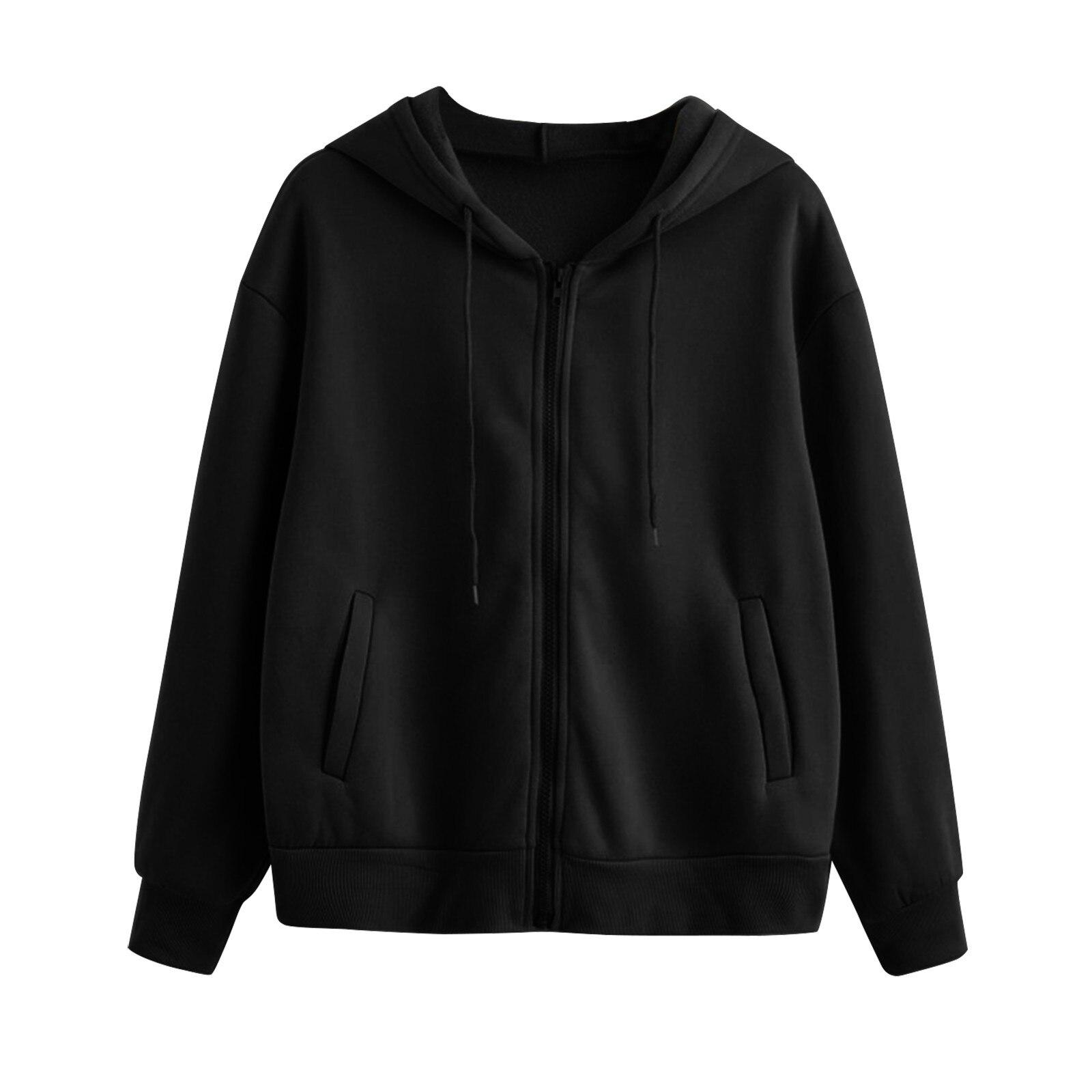 Lose Weight White Women Casual Solid Long Sleeve Zipper Pocket Shirt Hooded Sweatshirt Tops Hoodies Women Ropa Mujer 7