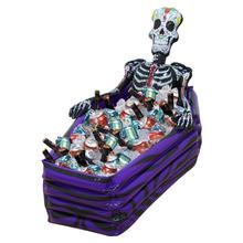 цена на Halloween Inflatable Ice Bucket Pool Beverage Storage Holder Skeleton Coffin Drink Cooler Toys Bar Swimming Pool Accessories