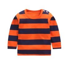 Новое поступление, полосатая хлопковая футболка с длинными рукавами для маленьких девочек осенняя одежда для детей от 12 месяцев до 8 лет, блузка Топы с длинными рукавами для мальчиков