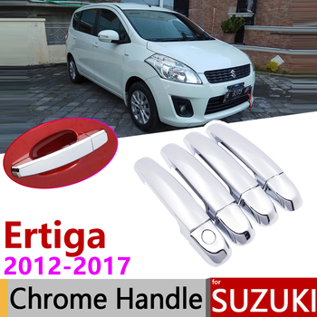 for Suzuki Ertiga 2012~2017 Chrome Exterior Door Handle Cover Car Accessories Stickers Trim Set of 4Door 2013 2014 2015 2016 image