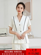 Work clothes Businesswoman temperament capable suit Beauty salon Hotel front desk manicure white custom