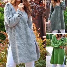 цена на 2019 Winter Autumn Long Sweater Pullover Loose Solid Side Slit Cross Long Knitted Women Fashion Streetwear Jumper Pull Femme