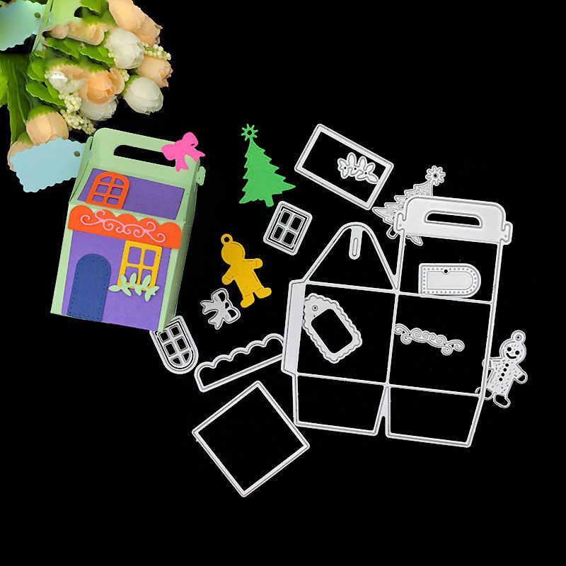 DIY Рождественский домик в форме Подарочный мешок Вырубные штампы скрапбук бумага ремесло тиснение удар трафарет плесень PI669