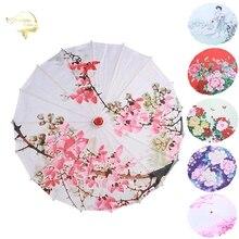 Retro Silk Cloth Women Umbrellas Chinese Style Oil Paper Umbrella Ancient Dance Umbrella Decorative Craft Umbrella Wooden Handle