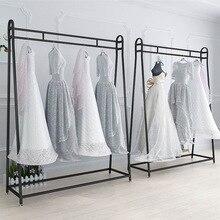 Железная художественная стойка для свадебного платья высшего класса вечернее платье Cheongsam выставочная стойка подвесное свадебное платье полка пол вешалка для одежды ткань