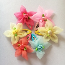 цена на 1 Pcs/lot New High Quality Five Petals Flower Hair Clips Girl Hair Wear Kids Hairpins Children Hair Accessories