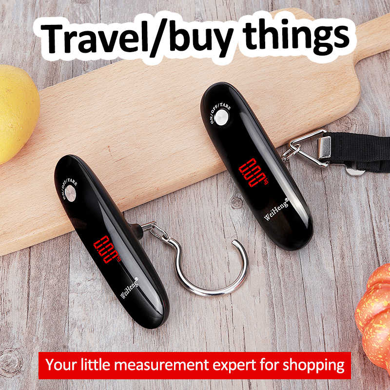 Новинка 2020, цифровые весы для багажа 50 кг x 10 г, портативные электронные весы, весы для багажа, весы для путешествий, подвесные весы с крючком