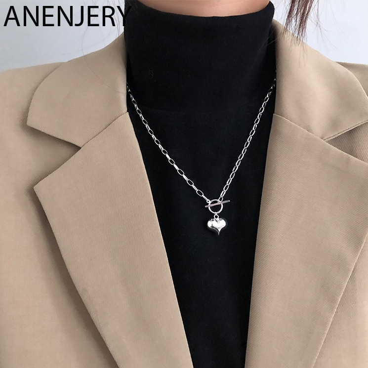 ANENJERY Simple Love Heart Charm Pendant Necklace Silver Color OT Clasp Chain Necklace For Women Jewelry Gifts S-N612(China)