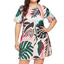 Large Size 5XL  Fashion Women Sexy Plus Leaves Print Dress Short Sleeve O-Neck Loose Knee Length Casual Summer