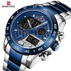Image 4 - Mens Watches NAVIFORCE Waterproof Military Sports Quartz Full Steel Digital LED Wrist Watch Clock Male Relogio Masculino 2020