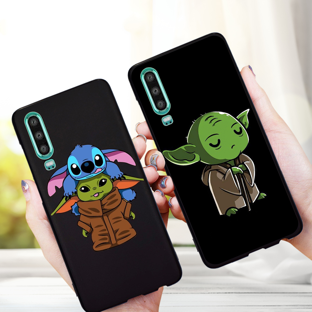 Stitch Cartoon Cute Baby Yoda Meme For Huawei P40 P30 Pro P20 P10 P8 Lite 2017 Mate 30 20 10 Lite Pro phone case coque silicone image