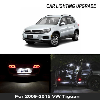 13x luz LED de matrícula + luces de pie para 2009-2015 Tiguan LED interior dome map lectura en el maletero bombilla Kit completo
