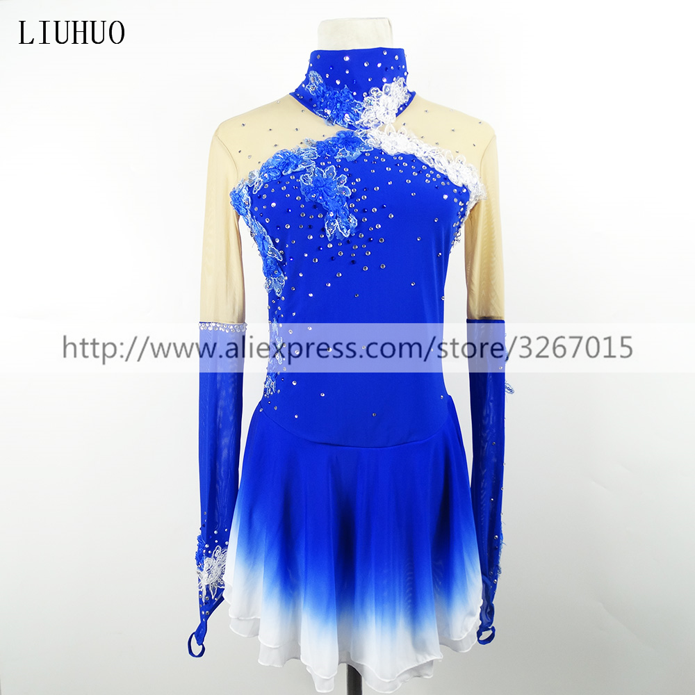 LIUHUO Figure Skating Dress Women's Girls' Ice Skating Dress Competition Long sleeve Blue Standing collar Decorative flower Kids