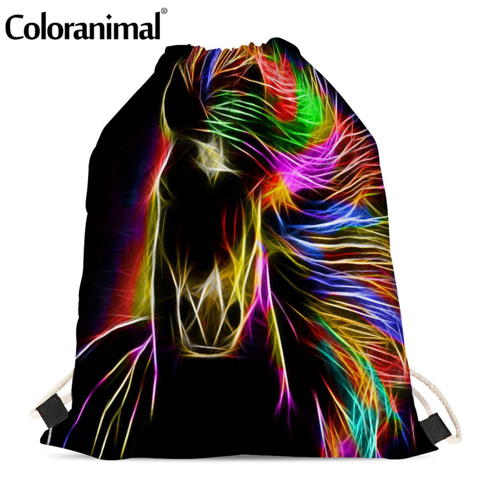 Coloranimal 3D Animal Crazy Black Horse Print Drawstring Bags For Men Women Abstract Art Gym Sack Bag Large String Backpack