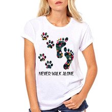 Women Never Walk Alone Dog Paw Cute Foot Floral Pet Fashion Clothe Printed Woman Harajuku Punk