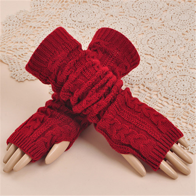 1 Pair Autumn Winter Women Knit Gloves Arm Wrist Sleeve Warmer Girls Half Knitted Arm Sleeves Long Riding Mittens Sleeve