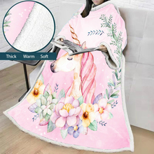 Cartoon Blanket With Sleeves 3D Printed Unicorn  Microfiber Sherpa Fleece Sofa Outdoor Coral TV Soft Warm Manta