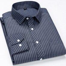 цена на Shirt Dress Men Stripd&Plaid Long Sleeve Button Up Casual Camisa Social Masculina Slim Fit Checked Shirt Streetwear Square Colla