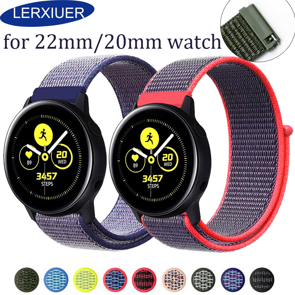 Nylon Sport Watch Band For Galaxy Watch Active 2 44mm 40mm Samsung Gear S3 Galaxy Watch 46mm 42mm Replacement New Strap 20 22mm