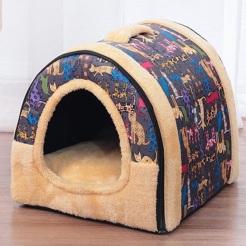 Casa de cachorro cama de cachorro dobrável cama de gato casa de estimação produtos cama de gato perro Tapetes e camas p/ gato    -