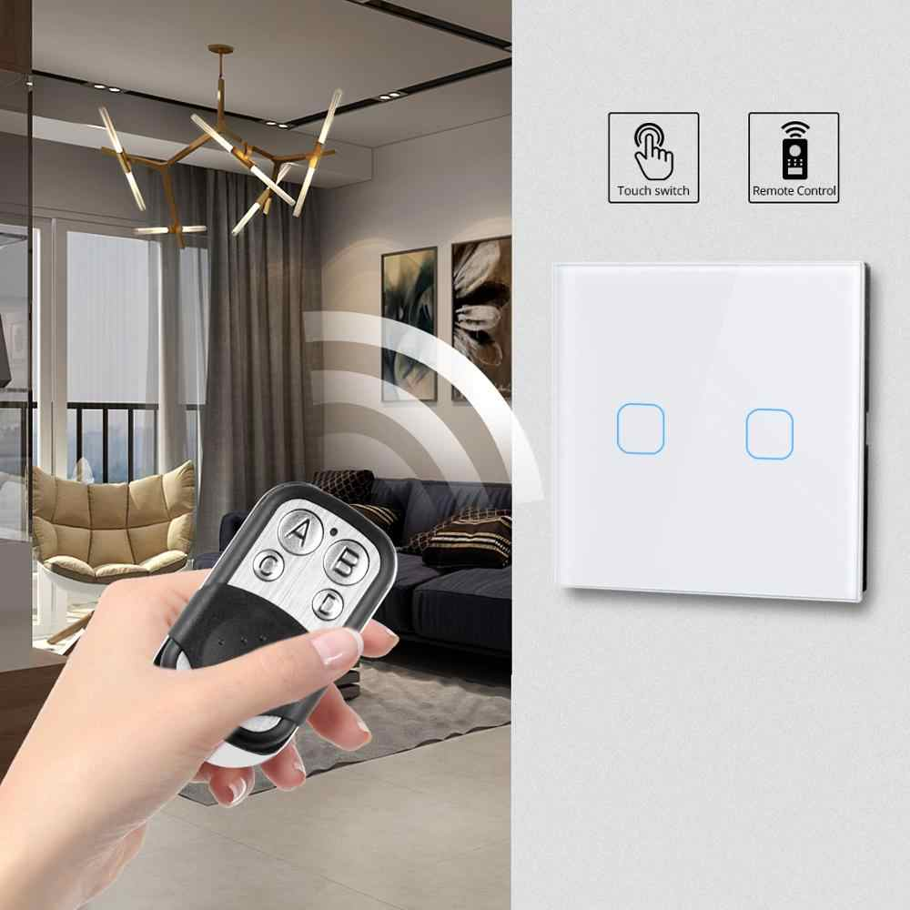 1/2/3 Gang 1 Way Recessed Wall Light Touch Switch With Crystal Glass Panel Remote Controlled 220V EU Stand Light Lamp Switch