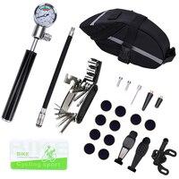 산악 자전거 수리 도구 키트 자전거 안장 가방 사이클링 좌석 팩 다기능 mtb 수리 도구 세트 공기 펌프 타이어 수리 도구